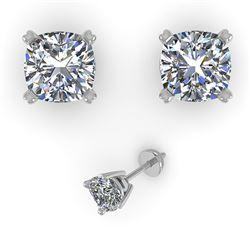 1.02 CTW Cushion Cut VS/SI Diamond Stud Designer Earrings 18K White Gold - REF-180M2H - 32289