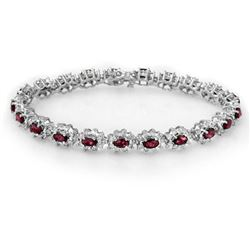 10.80 CTW Ruby & Diamond Bracelet 18K White Gold - REF-372H9A - 13168