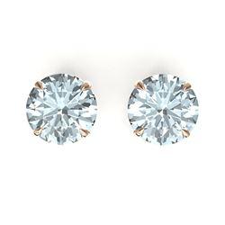 4 CTW Sky Blue Topaz Designer Inspired Solitaire Stud Earrings 14K Rose Gold - REF-23M3H - 21845