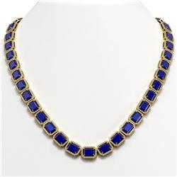 58.59 CTW Sapphire & Diamond Halo Necklace 10K Yellow Gold - REF-731X3T - 41338