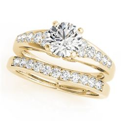 1.5 CTW Certified VS/SI Diamond Solitaire 2Pc Wedding Set 14K Yellow Gold - REF-225Y3K - 31720