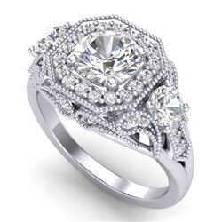 2.11 CTW VS/SI Diamond Solitaire Art Deco 3 Stone Ring 18K White Gold - REF-490F9N - 37328