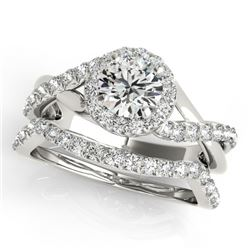 1 CTW Certified VS/SI Diamond 2Pc Wedding Set Solitaire Halo 14K White Gold - REF-117M5H - 31058