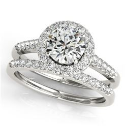 0.96 CTW Certified VS/SI Diamond 2Pc Wedding Set Solitaire Halo 14K White Gold - REF-140M2H - 30783