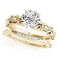 0.71 CTW Certified VS/SI Diamond Solitaire 2Pc Wedding Set Antique 14K Yellow Gold - REF-133W5F - 31