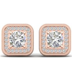 2 CTW Certified VS/SI Diamond Art Deco Micro Halo Stud Earrings 14K Rose Gold - REF-224W4F - 30499