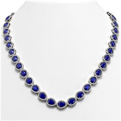 45.93 CTW Sapphire & Diamond Halo Necklace 10K White Gold - REF-674T2M - 41048