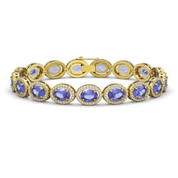 21.35 CTW Tanzanite & Diamond Halo Bracelet 10K Yellow Gold - REF-353Y6K - 40612