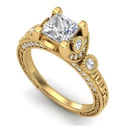 1.75 CTW Princess VS/SI Diamond Art Deco Ring 18K Yellow Gold - REF-445A5X - 37150