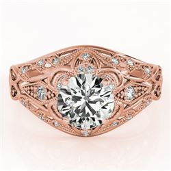 0.87 CTW Certified VS/SI Diamond Solitaire Antique Ring 18K Rose Gold - REF-145M3H - 27334