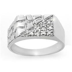 0.15 CTW Certified VS/SI Diamond Men's Ring 10K White Gold - REF-29H5A - 13246