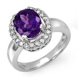 3.90 CTW Tanzanite & Diamond Ring 18K White Gold - REF-143F6N - 11904