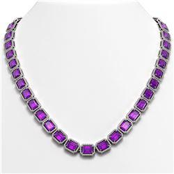 50.99 CTW Amethyst & Diamond Halo Necklace 10K White Gold - REF-677F6N - 41369