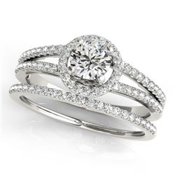 0.85 CTW Certified VS/SI Diamond 2Pc Wedding Set Solitaire Halo 14K White Gold - REF-127A3X - 31073