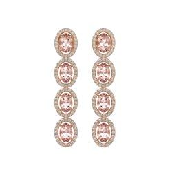 6.09 CTW Morganite & Diamond Halo Earrings 10K Rose Gold - REF-130X8T - 40515