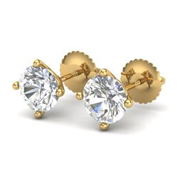 2 CTW VS/SI Diamond Solitaire Art Deco Stud Earrings 18K Yellow Gold - REF-591H2A - 37306