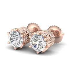 2.04 CTW VS/SI Diamond Solitaire Art Deco Stud Earrings 18K Rose Gold - REF-361M8H - 37242