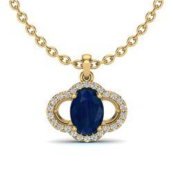 2 CTW Sapphire & Micro Pave VS/SI Diamond Necklace 10K Yellow Gold - REF-30Y2K - 20642