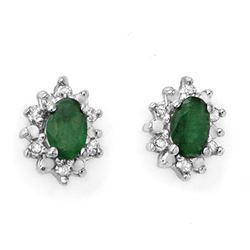 0.61 CTW Emerald & Diamond Earrings 10K Yellow Gold - REF-17X3T - 12616