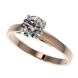 1 CTW Certified H-SI/I Quality Diamond Solitaire Engagement Ring 10K Rose Gold - REF-199T5M - 32982