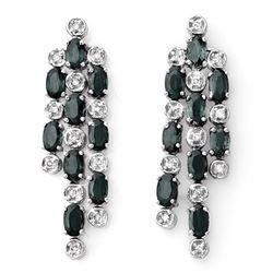 6.33 CTW Blue Sapphire & Diamond Earrings 14K White Gold - REF-82Y9K - 10395