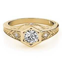 0.4 CTW Certified VS/SI Diamond Solitaire Antique Ring 18K Yellow Gold - REF-70N9Y - 27224