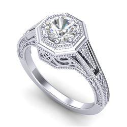 0.84 CTW VS/SI Diamond Solitaire Art Deco Ring 18K White Gold - REF-236A4X - 37091