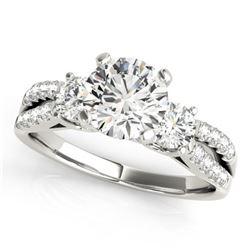 1.25 CTW Certified VS/SI Diamond 3 Stone Ring 18K White Gold - REF-208T5M - 28023