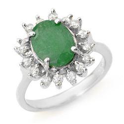 3.10 CTW Emerald & Diamond Ring 18K White Gold - REF-83A6X - 12806