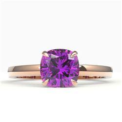 2 CTW Cushion Cut Amethyst Designer Engagement Ring 14K Rose Gold - REF-21K3W - 22128