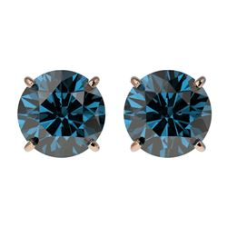 1.95 CTW Certified Intense Blue SI Diamond Solitaire Stud Earrings 10K Rose Gold - REF-205F9N - 3665