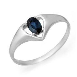 0.33 CTW Blue Sapphire Ring 10K White Gold - REF-9K3W - 12550
