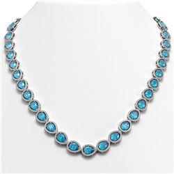 35.13 CTW Swiss Topaz & Diamond Halo Necklace 10K White Gold - REF-592T2M - 41075
