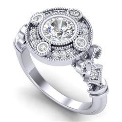 1.12 CTW VS/SI Diamond Art Deco Ring 18K White Gold - REF-250W2F - 36977