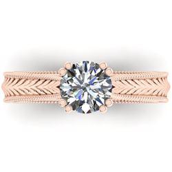 1.06 CTW Solitaire Certified VS/SI Diamond Ring 14K Rose Gold - REF-286K6W - 38536