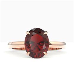 3.50 CTW Garnet Designer Inspired Solitaire Ring 14K Rose Gold - REF-24F5N - 22062
