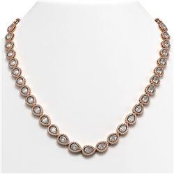 33.08 CTW Pear Diamond Designer Necklace 18K Rose Gold - REF-6137W3F - 42732
