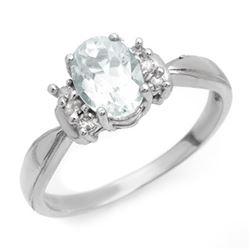 1.06 CTW Aquamarine & Diamond Ring 10K White Gold - REF-32N2Y - 14401