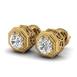 1.07 CTW VS/SI Diamond Solitaire Art Deco Stud Earrings 18K Yellow Gold - REF-190F9N - 37096