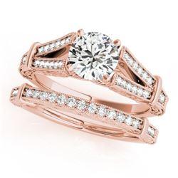 0.91 CTW Certified VS/SI Diamond Solitaire 2Pc Wedding Set Antique 14K Rose Gold - REF-148X5T - 3146