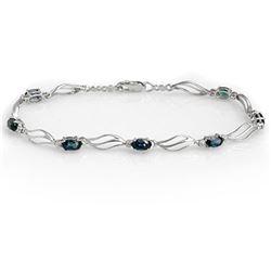3.02 CTW Blue Sapphire & Diamond Bracelet 10K White Gold - REF-39M8H - 10849