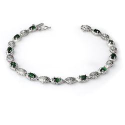 2.62 CTW Emerald & Diamond Bracelet 10K White Gold - REF-41H3A - 14129