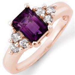 1.36 CTW Amethyst & Diamond Ring 14K Rose Gold - REF-51W3F - 10433