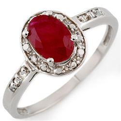1.35 CTW Ruby & Diamond Ring 10K White Gold - REF-15W8F - 10118