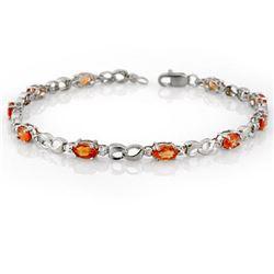3.51 CTW Orange Sapphire & Diamond Bracelet 10K White Gold - REF-32Y9K - 11643