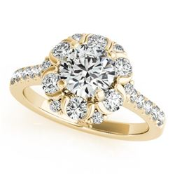 1.55 CTW Certified VS/SI Diamond Solitaire Halo Ring 18K Yellow Gold - REF-175X8T - 26669
