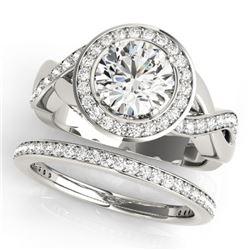 2.09 CTW Certified VS/SI Diamond 2Pc Wedding Set Solitaire Halo 14K White Gold - REF-420A2X - 30642