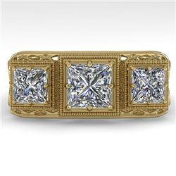 2 CTW Past Present Future VS/SI Princess Diamond Ring 18K Yellow Gold - REF-481H6A - 36070