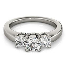 1.33 CTW Certified VS/SI Diamond 3 Stone Ring 18K White Gold - REF-262K9W - 28068