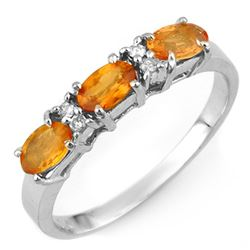 1.33 CTW Orange Sapphire & Diamond Ring 10K White Gold - REF-21N8Y - 10976
